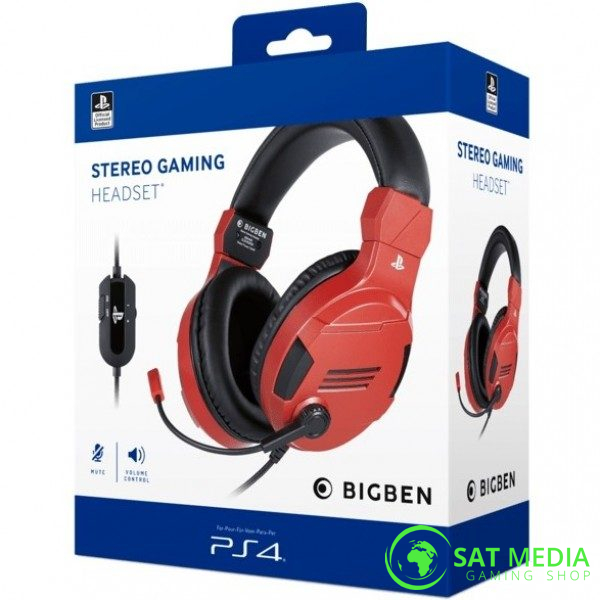 PS4 BigBen Stereo Gaming Headset-V3 Red 0 600×600